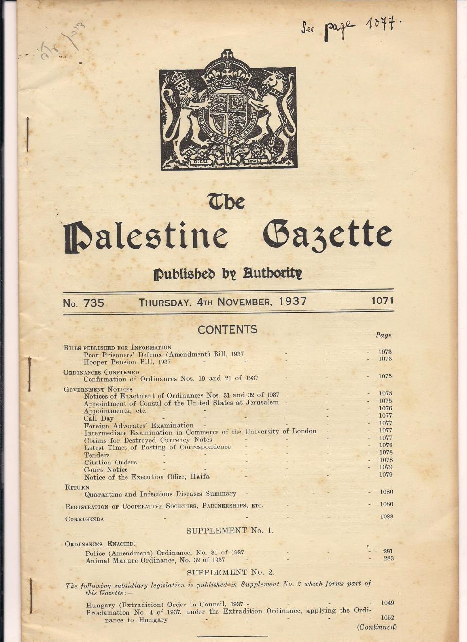 The Palestine Gazette, November 4th, 1937 001